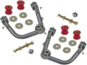 "Kit Includes: Upper Control Arms, Urethane Bushings, Inner Sleeves, Tapered Spindle Adapters, 1"" I.D. Stainless Steel Uniballs, Upper & Lower Hi-Misalignment Spacers, Zinc Plated End Washers,  Grade 8 Mounting Hardware"